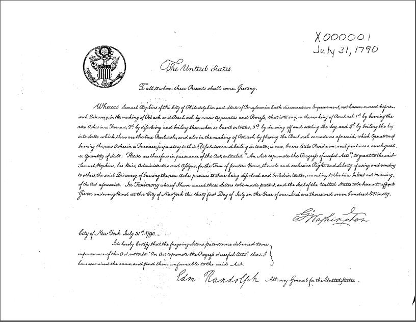first-u.s.-patent